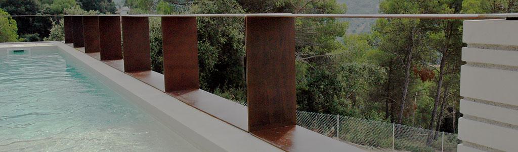 Corten steel railing